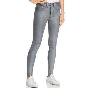 Rag & Bone High-Rise Coated Ankle Skinny Jeans